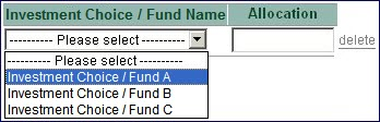 Change of Allocation for Future Investment for Investment Matrix Step 3 Select Investment Choice Fund