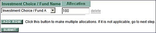 Change of Allocation for Future Investment for Investment Matrix Step 4 Input Allocation Percentage